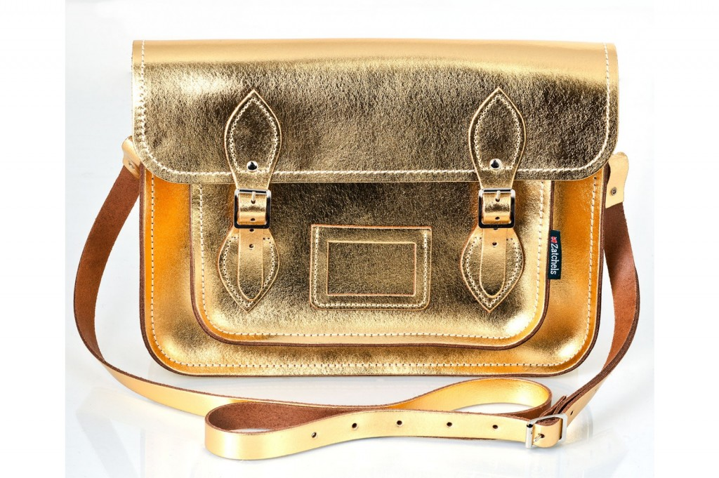 Metallic Gold Leather Satchel from £109 click to visit Zatchels