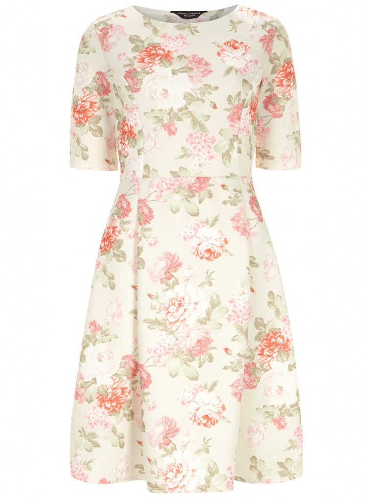 Ivory rose print dress     Price: £28.00 click to visit Dorothy Perkins