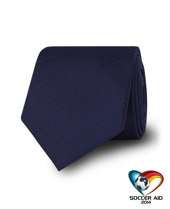 Navy Soccer Aid Charity Slim Tie (£10 donated) Click to visit TM Lewin