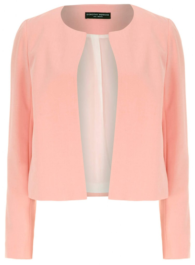 Peach Crepe Dome Jacket     Price: £35.00 click to visit Dorothy Perkins