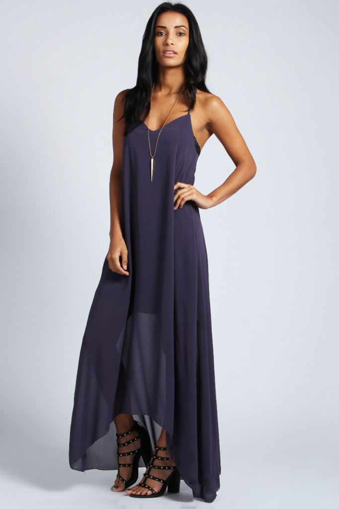 Ella Strap Detail Dress With Dip Hem Maxi Product code: azz37821 £20 click to visit Boohoo