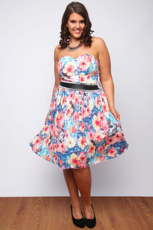 Blue And Pink Floral Printed Pleated Dress With PU Panel £45 click to visit Yours Clothing