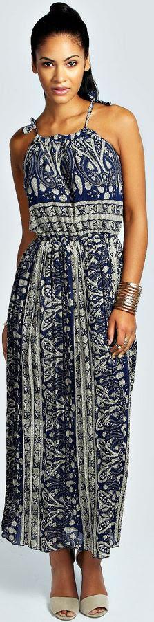 Violet Drawstring Paisley Chiffon Maxi Dress Product code: azz34873 £20 click to visit Boohoo