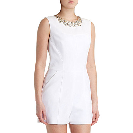 TED BAKER Evelin embellished-neckline playsuit £85 click to visit Selfridges