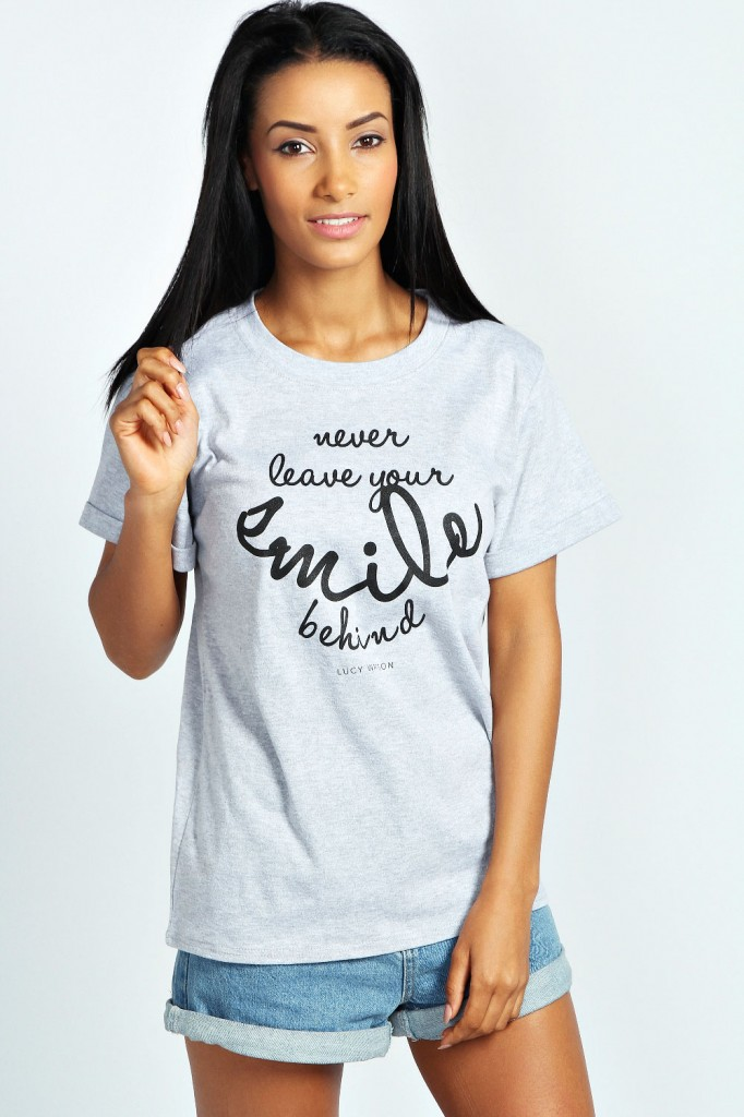 Lucy Watson Charity Slogan Tee Product code: azz26166 £12.00 click to visit Boohoo