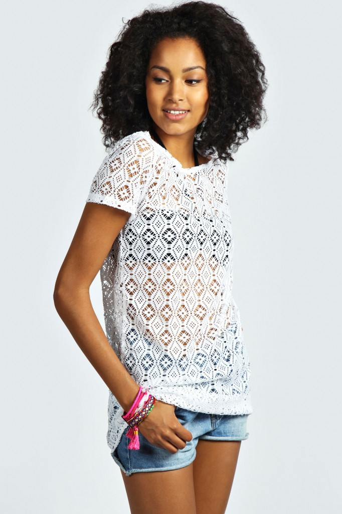 Paige All Over Crochet Longline Tee £15 click to visit Boohoo