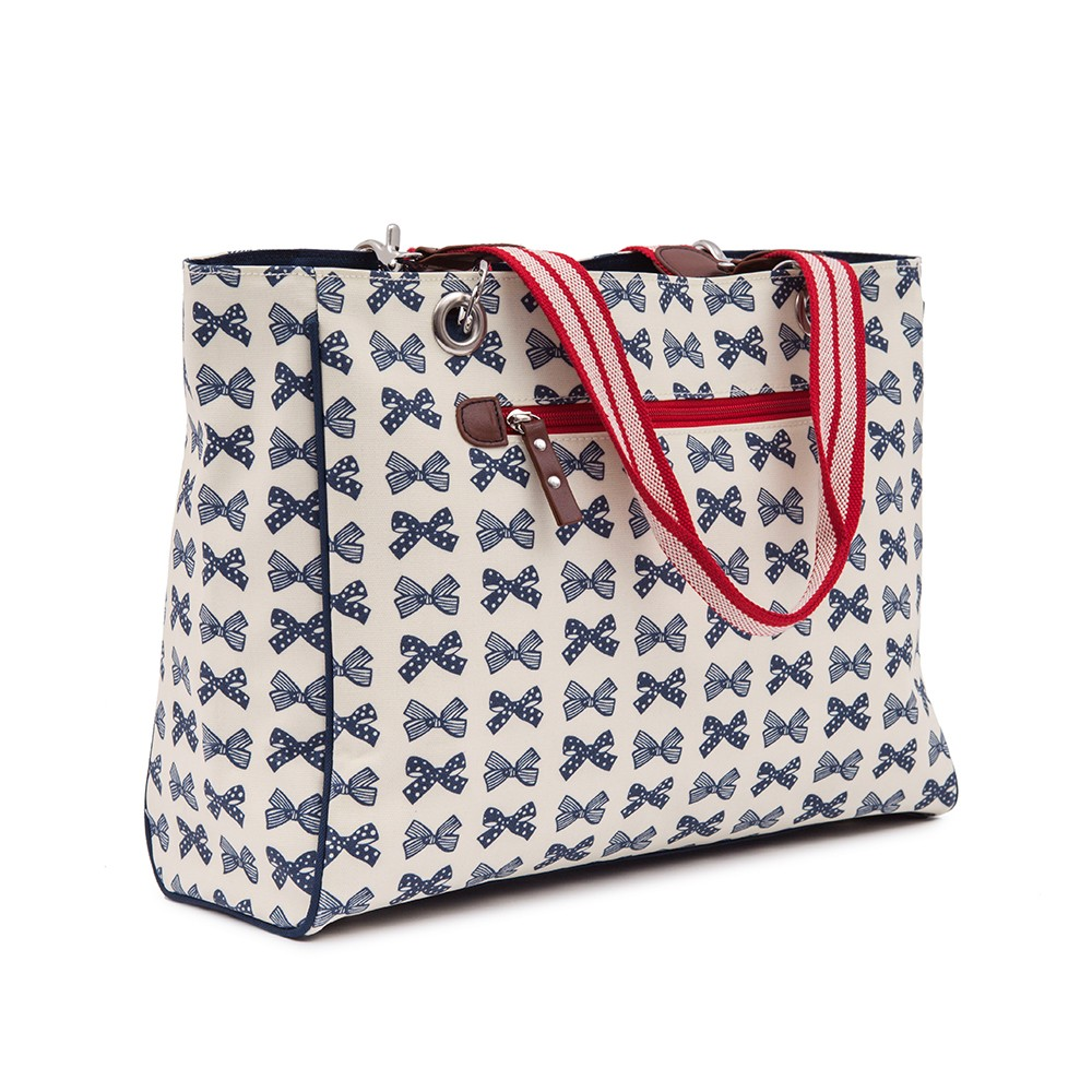 Bramley Tote Navy Bows On Cream £60 click to visit Pink Lining