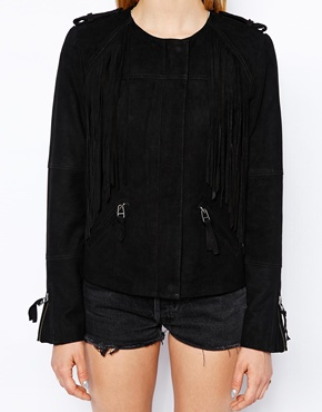 Gestuz Suede Jacket with Tassels RRP £300.00 £150.00 Click to visit ASOS