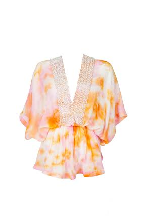 MyaBlueLuxe CAPRI - Orange Hand Painted Silk Kaftan Top £235.00 click to visit Mya Blue Luxe