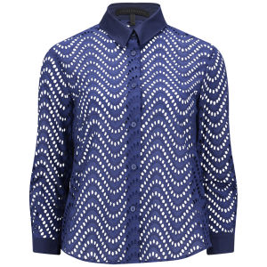 Victoria Beckham Women's Basic Shirt - Navy Broderie Anglaise £145.00 click to visit Coggles