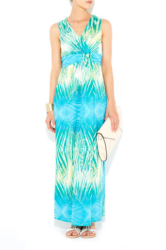 Turquoise Leaf Print Maxi Dress     Was £50.00     Now £30.00 click to visit Wallis