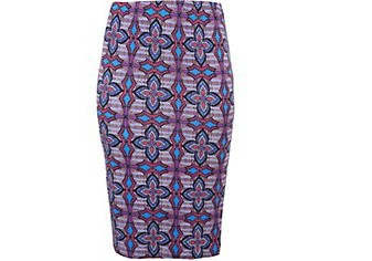 Inspire Purple Tribal Print Pencil Skirt £17.99 click to visit New Look