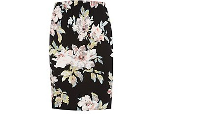 Inspire Black Floral Print Pencil Skirt £14.99 click to visit New Look