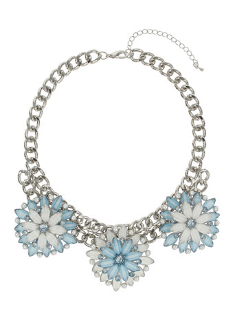 Chunky Blue Flower Collar Price: £25.00 click to visit Miss Selfridge