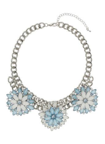 Chunky Blue Flower Collar Price: £25.00 click to visit Miss Selfridge