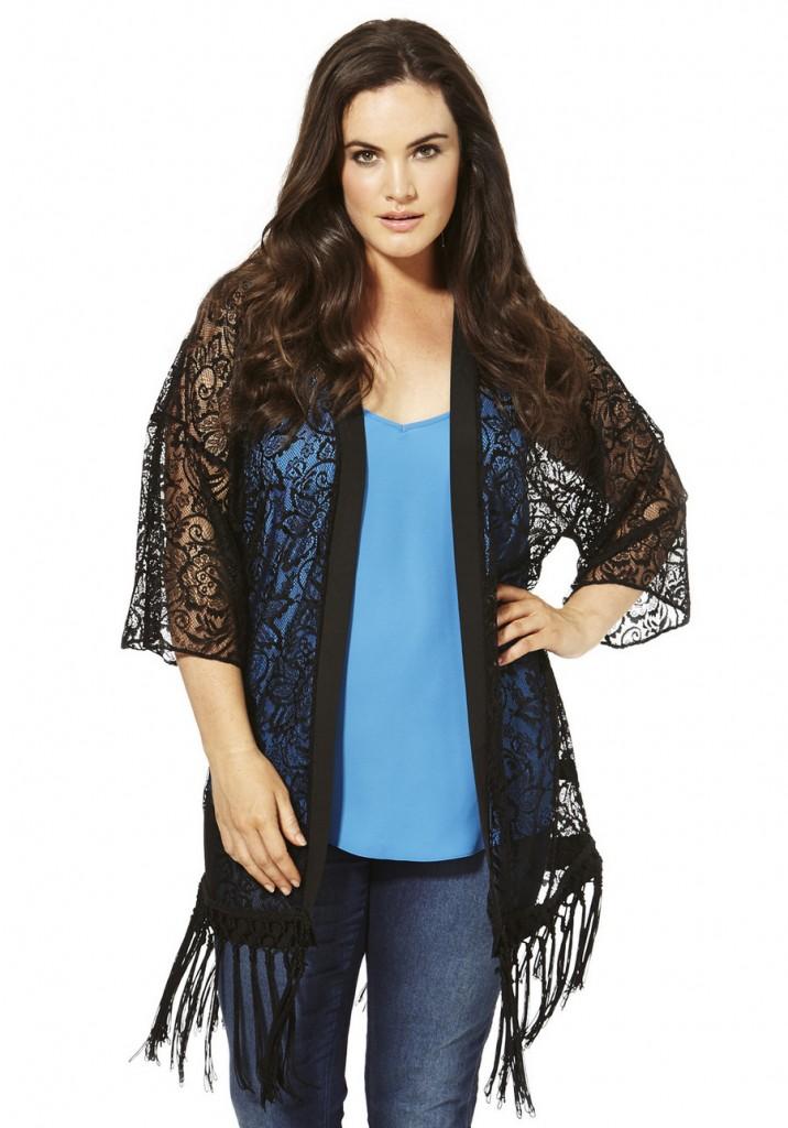 F&F True Fringed Lace Plus Size Kimono £28.00 click to visit F&F
