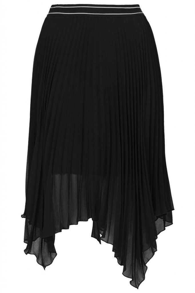 Asymmetric Pleated Midi Skirt     Price: £38.00 click to visit Topshop