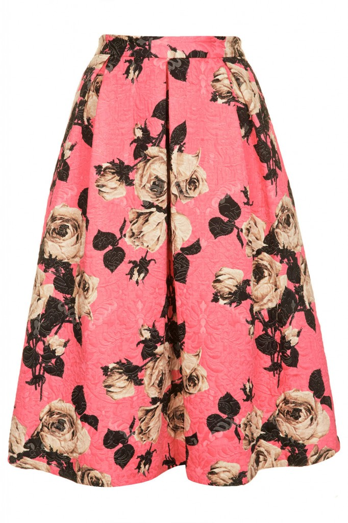 Rose Texture Midi Skirt     Price: £48.00 click to visit Topshop
