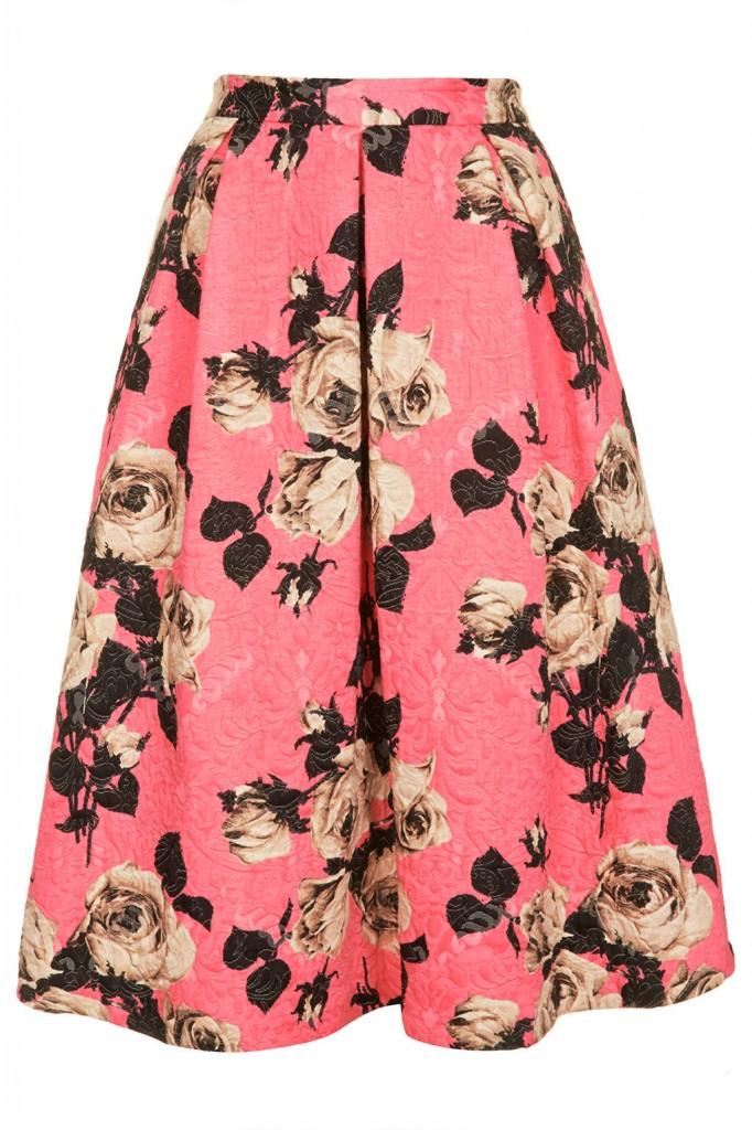 Rose Texture Midi Skirt     Price: £48.00 click to visit Topshop