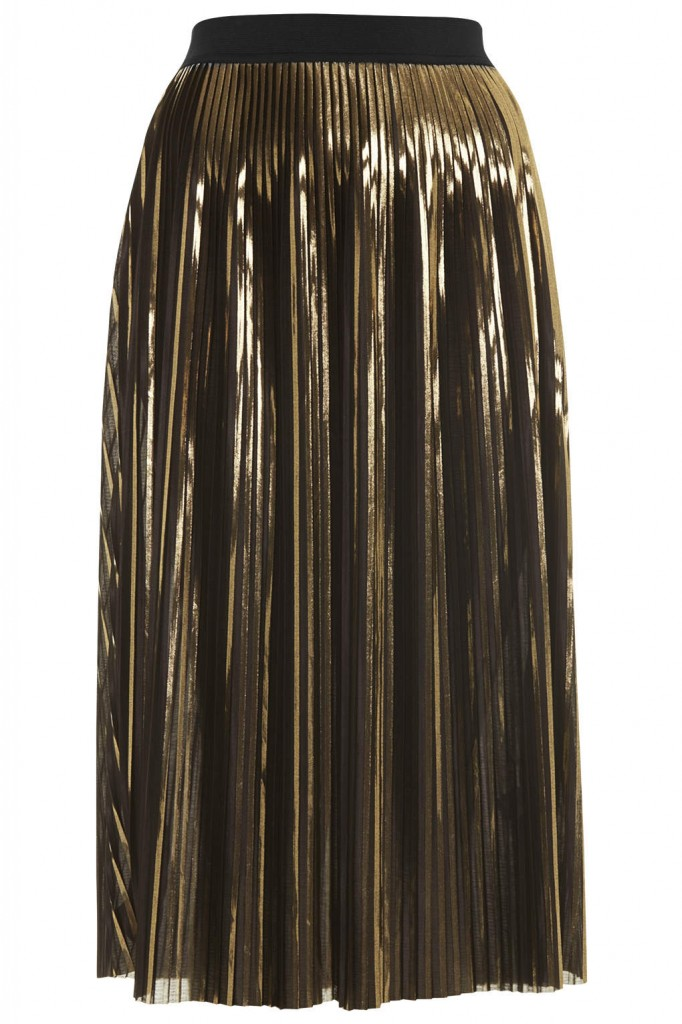 Gold Foil Pleated Midi Skirt     Price: £40.00 click to visit Topshop