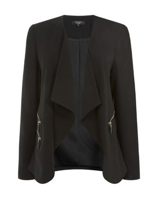Inspire Black Crepe Zip Pocket Waterfall Blazer £29.99 click to visit New Look
