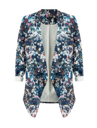 Blue Floral Abstract Print Longline Waterfall Blazer £29.99 click to visit New Look