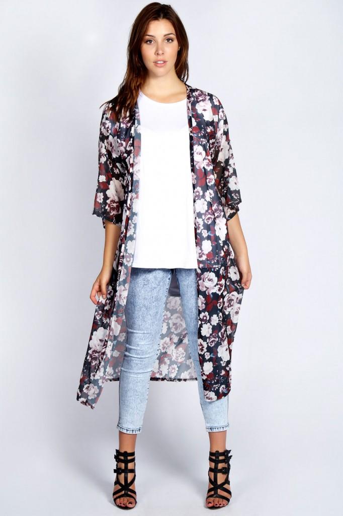Martine Dark Floral Long Kimono £22.00 click to visit Boohoo