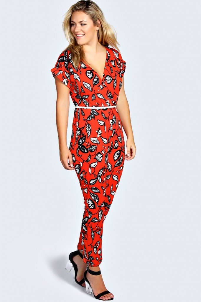 Ruby Leaf Print Wrap Front Jumpsuit Product code: pzz99669 £25.00 click to visit Boohoo