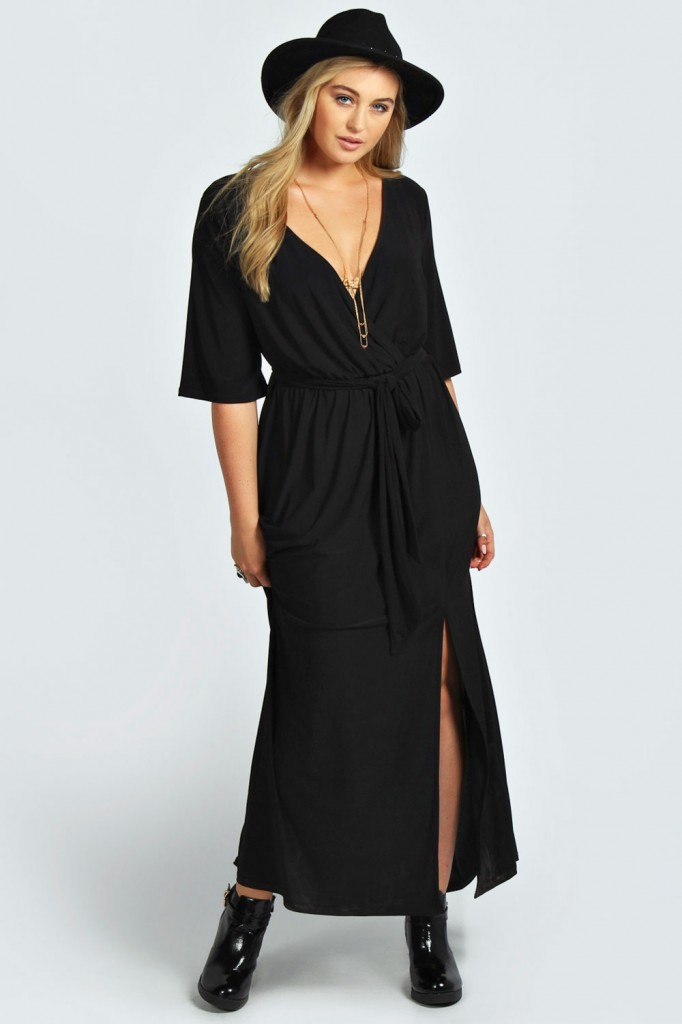 Sheena Wrap Front Slinky Maxi Dress Product code: pzz99678 £20.00 click to visit Boohoo