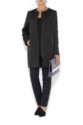 Black Jacquard Coat     Price: £120.00 click to visit Wallis