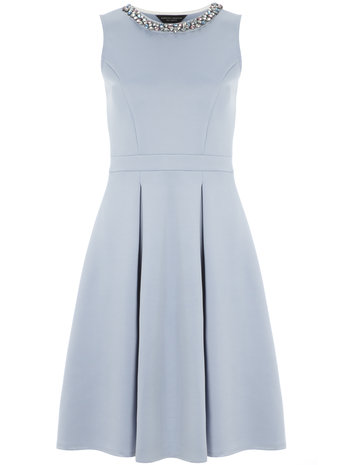 Blue embellished fit and flare dress     Was £38.00     Now £32.30 click to visit Dorothy Perkins