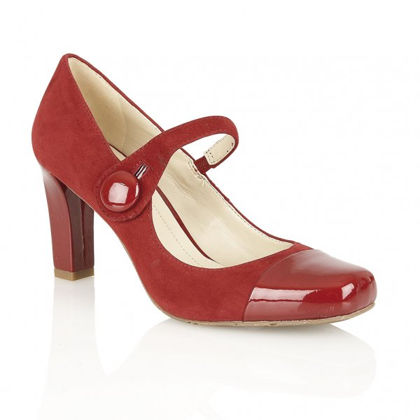 Naturalizer Shoes L-Ulrich Red Suede & Patent Toe Mary-Jane Court Shoes   code:C0703RED £60.00 click to visit Lotus shoes