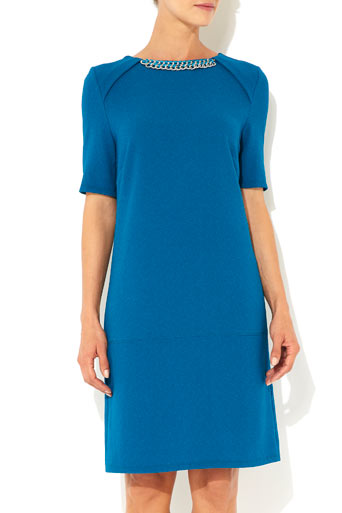 Teal Chain Neck Crepe Dress     Was £40.00     Now £32.00 click to visit Wallis