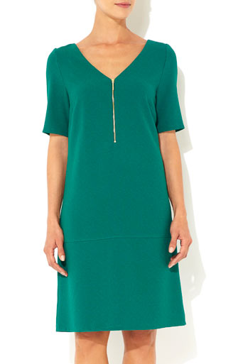 Green Zip Front Crepe Dress     Was £35.00     Now £28.00  click to visit Wallis