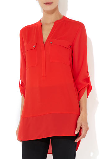 Red Sheer Sleeve Shirt     Was £32.00     Now £25.60 click to visit Wallis