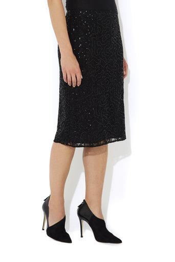 Black Sequin Lace Skirt     Price: £45.00 click to visit Wallis