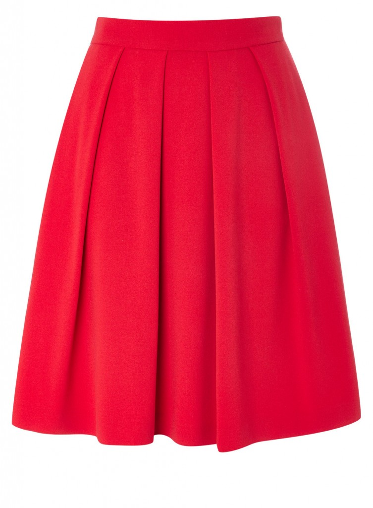 Red Zip Back Pleated Skirt     Price: £25.00 click to visit BHS