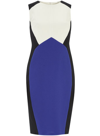 Ivory and Cobalt Colourblock Pencil Dress     Price: £25.00 click to visit Dorothy Perkins
