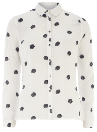 Black and white polka dot shirt     Price: £22.00 click to visit Dorothy Perkins