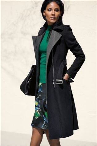 Black Premium Belted Coat £95 click to visit Next