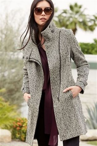Herringbone Funnel Neck Coat £78 click to visit Next