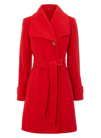 Red Fit and Flare Belted Coat     Price: £60.00 Click to visit BHS