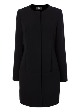 Black Collarless Crepe Coat     Price: £65.00 click to visit BHS