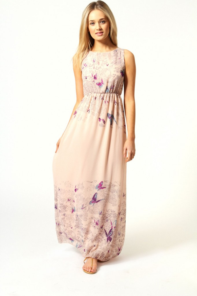Rachel Tie Back Border Print Butterfly Maxi Dress £18 click to visit Boohoo