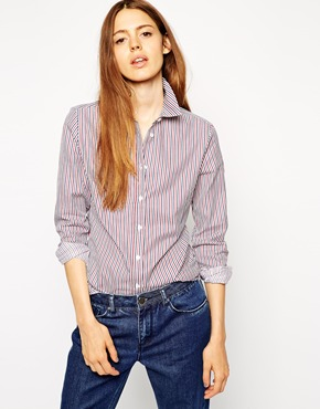 ASOS Blue and Red Stripe Fitted Shirt £28.00 NOW £21.00 Click to visit ASOS
