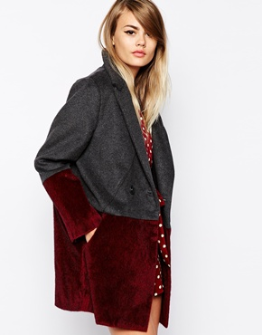 The Laden Showroom X Paisie Two Tone Faux Fur Panel Coat £150.00 click to visit ASOS