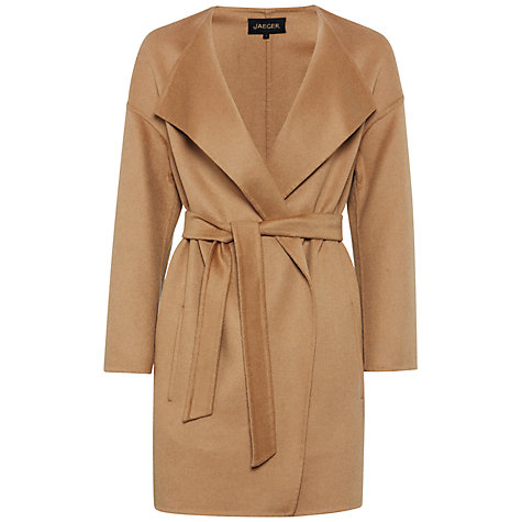 Jaeger Drop Shoulder Coat, Camel£324 click to visit John Lewis Product information This exquisite coat combines two of the key trends for AW14: a draped construction and double-faced wool fabric. The most elegant way to brave the colder weather, this design features a waterfall front and interest drop shoulder. It will look as stylish with jeans as it does with smart work outfits.   Centre Back Length 90cm. Brand     Jaeger Coat Length     Mid  Material     100% Wool  Neckline     Collar  Outerwear Product Type     Coat  Sleeve     Long Sleeve  Washing Instructions     Dry clean  Delivery Click & collect Free Click & collect from John Lewis or Waitrose shops for collection Tuesday from 2pm 347 participating John Lewis and Waitrose shops     Free  Standard delivery     Free  Next or named day delivery     £6.95  Next or named morning delivery     £9.95  International delivery available     Europe (Non EU) - £7.50     Europe (EU) - £7.50     Rest of World - £25.00 Provided by JL Delivery Ltd - more about international delivery     From  £7.50  Collect+ from a local shop from Tuesday - postcode exclusions apply for Collect+ deliveries 5000+ participating Collect+ shops     £3.00  Returns We want you to be happy with your purchase. If you're not, just return the products to us or to one of our shops. Unless faulty, we'd like this to be within 90 days of purchase. Exceptions apply to certain products - find out more about our refund policy. Depending on the type of product, you can make free returns via our shops, Royal Mail (or courier collection for large or heavy items), Collect+ or via MyHermes. Find out more about returning products Ratings & Reviews Write a review write a review There are no reviews for this product. Be the first to write a review. write a review Fashion advice service Fashion advice service     Save £75 until 26.11.2014 - price includes saving £324.00