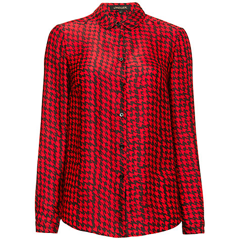 Jaeger Blurred Dogtooth Blouse, Black / Red £125 click to visit John Lewis