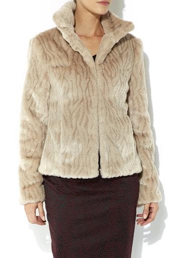 Stone Short Faux Fur Jacket Price: £70.00 click to visit Wallis