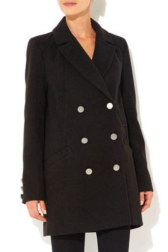 Black Twill Reefer Coat Was £70.00 Now £56.00 click to visit Wallis